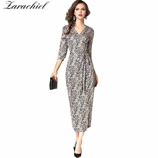 Bekend Zarachiel Lente Herfst Vrouwen Leopard Printing Maxi Wrap Jurk @NS85