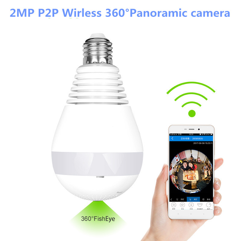 Bulb Lamp 1080P 2MP Panoramic Bulb Light Wireless IP Camera Wi-FI FishEye Baby Monitor Mini Lamp Wifi P2P Cam CCTV Home Security ysa 1080p 960p 360 degree lamp bulb wireless ip cameras wi fi fisheye security cctv panoramic two way audio 2mp ir p2p light cam