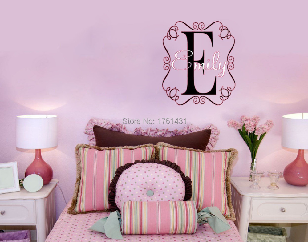 Monogram E Name In Chic Frame Wall Decals Vinyl Stickers Home Decor Wall Paper For Living Room
