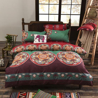Bohemian Style Bedding set Floral Printed Bed linens Twin Queen King Size 4pcs Duvet Cover Flat Sheet Pillow case Hot sale 1