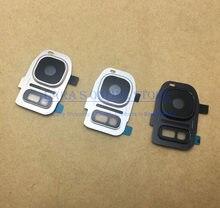Armação de vidro para lentes de câmera, proteção com anel de metal e suporte para câmera, para samsung galaxy s7/s7 edge s8/s8 + com adesivo