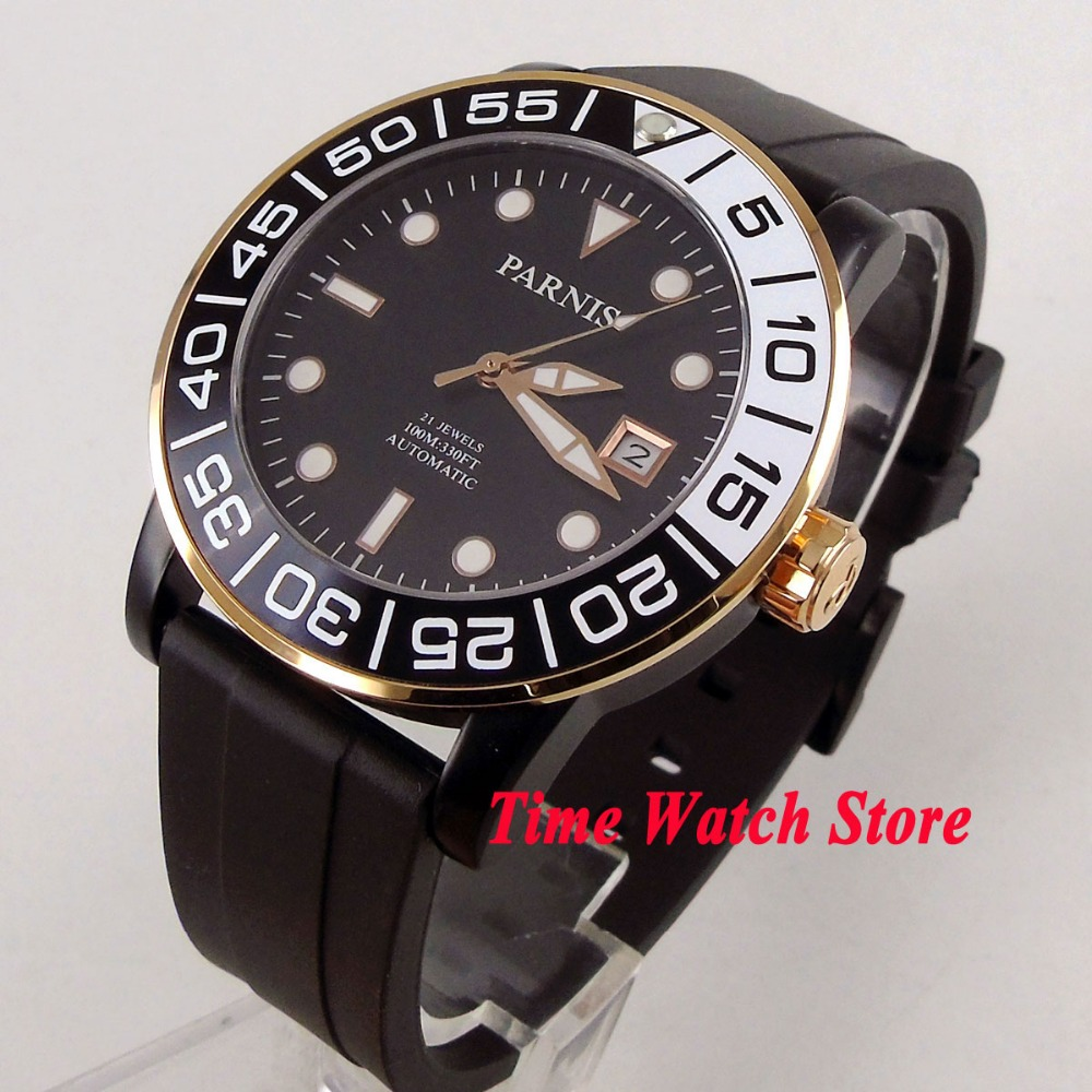 Parnis 42mm black dial luminous sapphire glass rubber strap PVD case gold ring 21 jewels MIYOTA