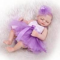NPK COLLECTION 11'' Sleeping Baby Reborn Dolls Lifelike Full Vinyl Body Mini Baby Doll Wear Purple Dress Alive Peanut Girl bebe