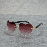 Heart Shape Rimless Wooden Sunglasses Men Natural Black White Buffalo Horn Gafas Eyewear for Party Club Glasses Frames Oculos