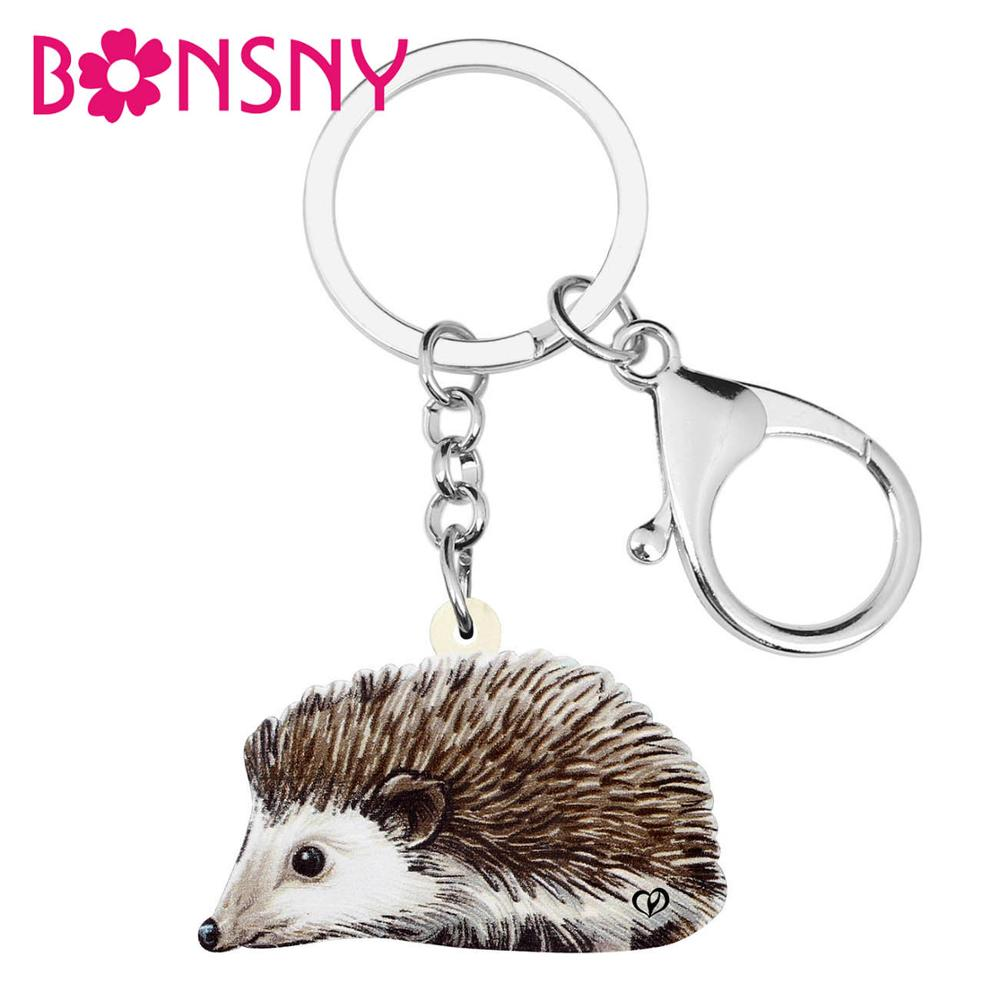 Bonsny Acrylic Cute Anime Hedgehog KeyChain Key Ring Fashion Animal Jewelry For Women Girls Teens Gift Bag Car Charm Pendant