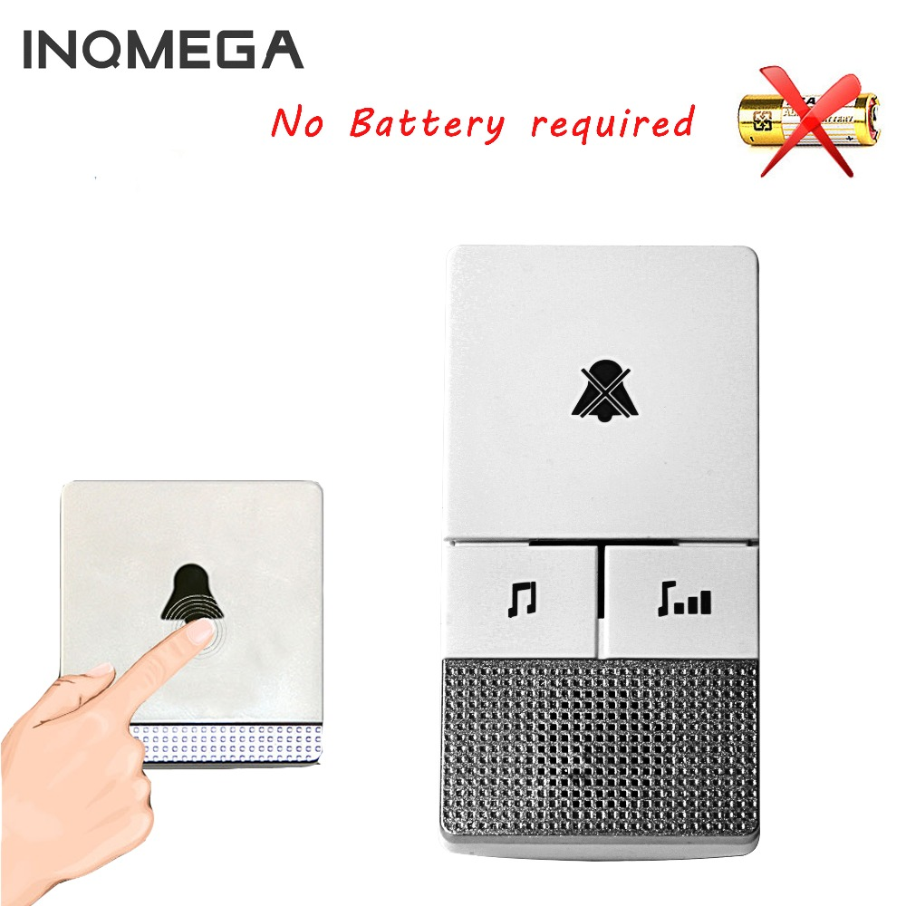 INQMEGA Self Powered Waterproof Wireless DoorBell Night Light Sensor No Battery EU Plug Smart Door Bell With 1 2 Button/Receiver