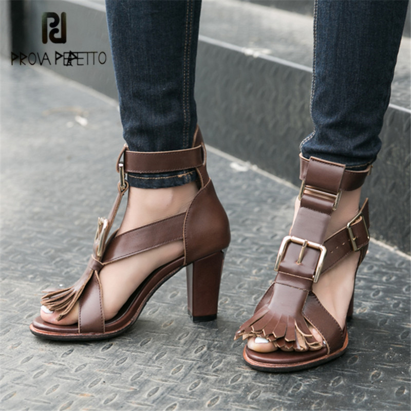 Prova Perfetto Women Gladiator Sandals Fringed Summer Sandal 8CM Chunky High Heels Buckles Ladies Dress Shoes Women Pumps цены онлайн