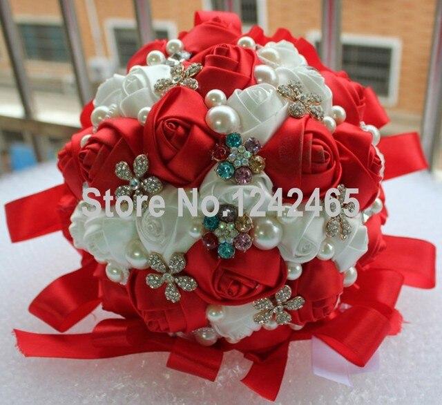Новое поступление европа и соединенные штаты высококлассные невесты с цветами в руках инкрустированные жемчужина красный белый праздничный свадебные букеты SH03