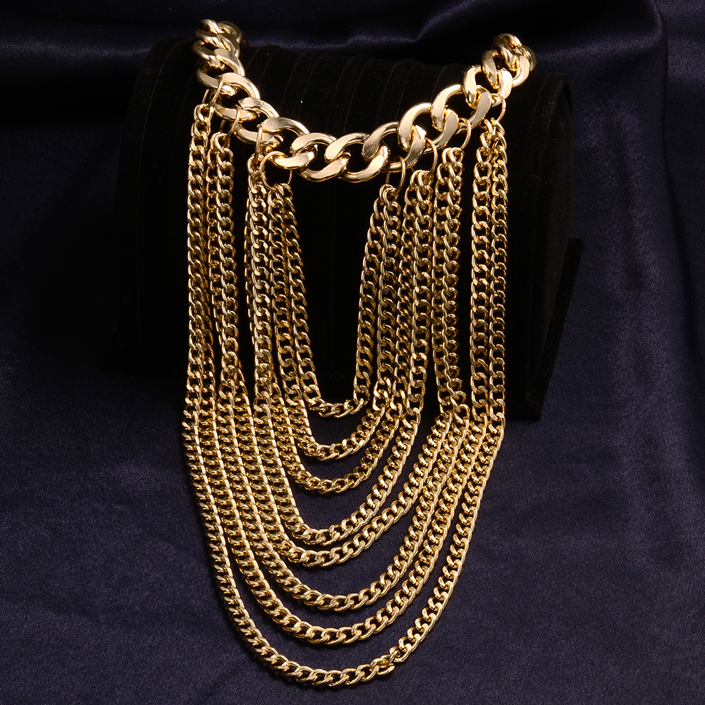 body jewelry neackless plastron l necklace chain big crystal pendant gold chest jewels look