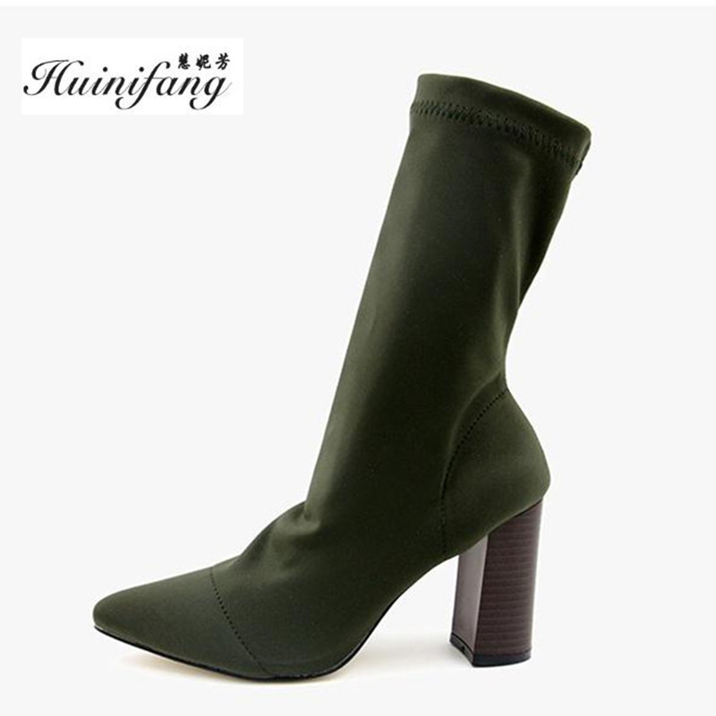 2017 autumn winter Elasticity women boots high-heeled boots Socks boots Thick heel fashion Ladies boots topuklu bot boty