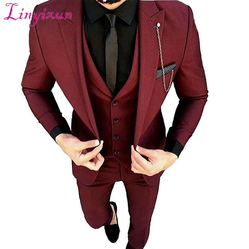 Linyixun Burgundy Wedding Suits For Men Black Shawl Lapel Blazer Masculino Slim Fit Tuxedo Suit Men 2 Piece Mens Suits With Pant