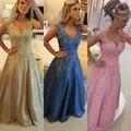 Não é Ouro De Noiva Apliques Pérolas Rendas Sem Mangas Elegante Rosa Azul Evening Partido Vestidos Exclusivos Vestidos Longos Para Baile de Formatura