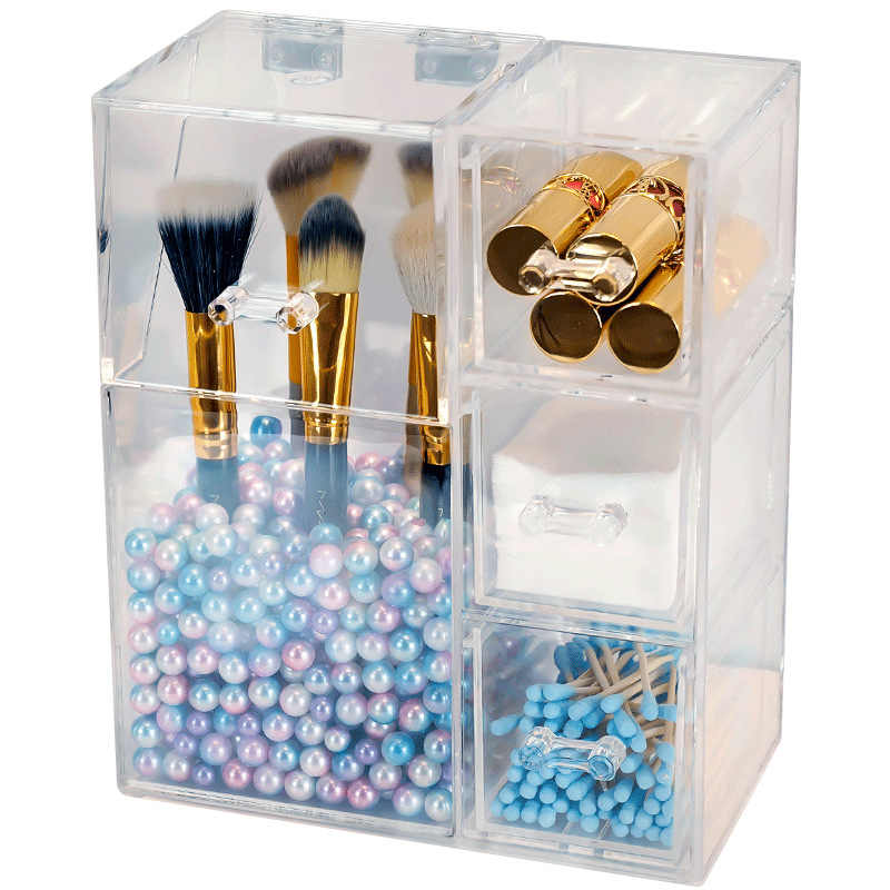 Clear Plastic Makeup Brush Storage box with cover Jewelry Earring Organizer Acrylic Makeup organizer Cosmetic tool Holder Box