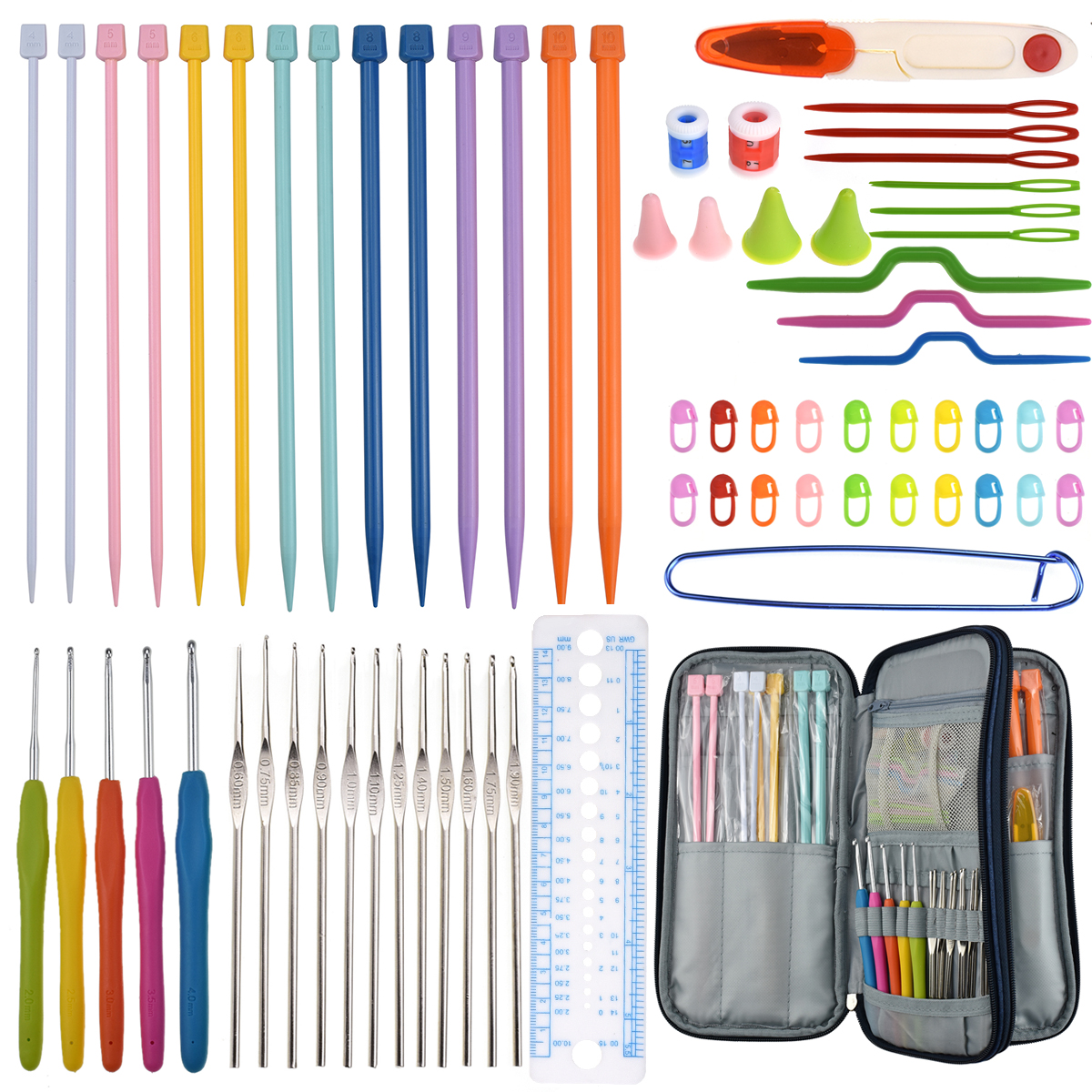 Crochet Hook Set 14Pcs Knitting Needle 5Pcs Crochet Hook Set Ergonomic Crochet Yarn Craft DIY Tool Storage Bag in Sewing Needles from Home Garden