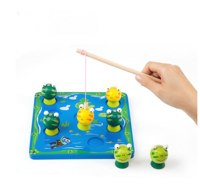 Kids 3d Fishes Frog Wooden Magnetic Fishing Game Toys For