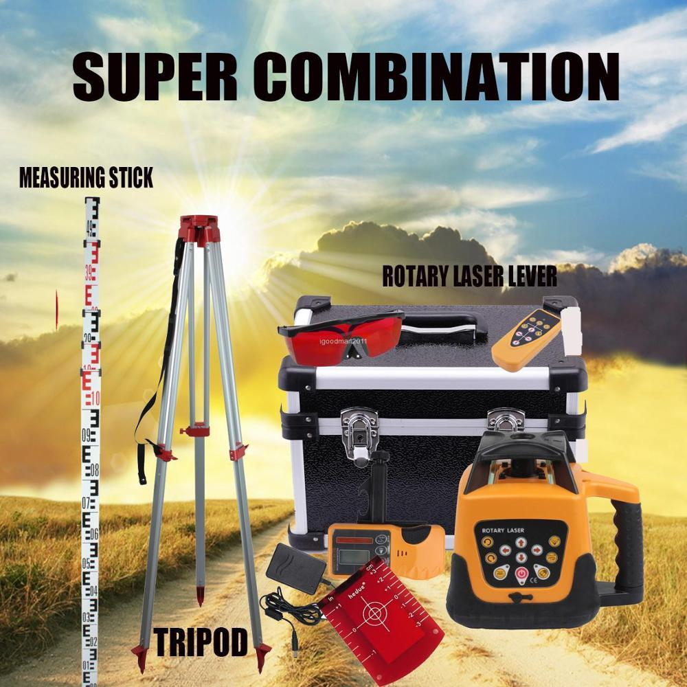 Yonntech 360 Degree 500m Range Red Beam Self-leveling Rotary Laser Level+1.65M Tripod+5M Measuring Stick