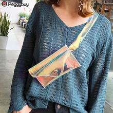 Wanita telus beg jelas PVC jeli kecil pinggang pek beg klac beg bahu laser hologram wanita wanita sacrum femme bandoul