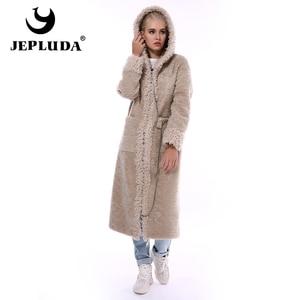 Image 3 - JEPLUDA Neue Stil Echt Pelzmantel Frauen Winter Lange Zipper Mit Kapuze Natürliche Wolle Blends Schafe Pelz Mantel Frauen Warme Echt pelz Jacke