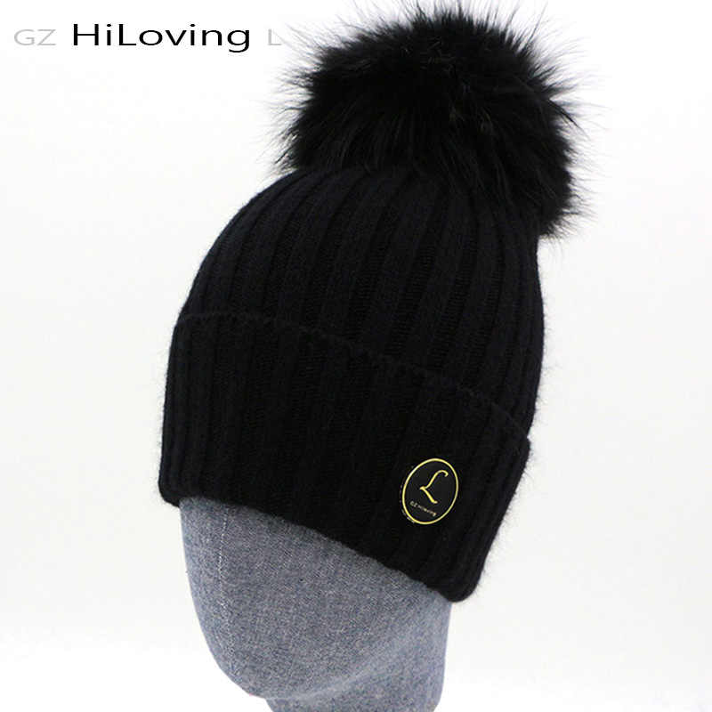 4faba170821c2 New Design Brand Real Fur Pom Pom Women Mens Knitted Beanie Winter Hats  Warm Soft 100