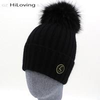 New Design Brand Real Fur Pom Pom Women Mens Knitted Beanie Winter Hats Warm Soft 100 Wool Womens Girls Gorros Caps Fur Bobble