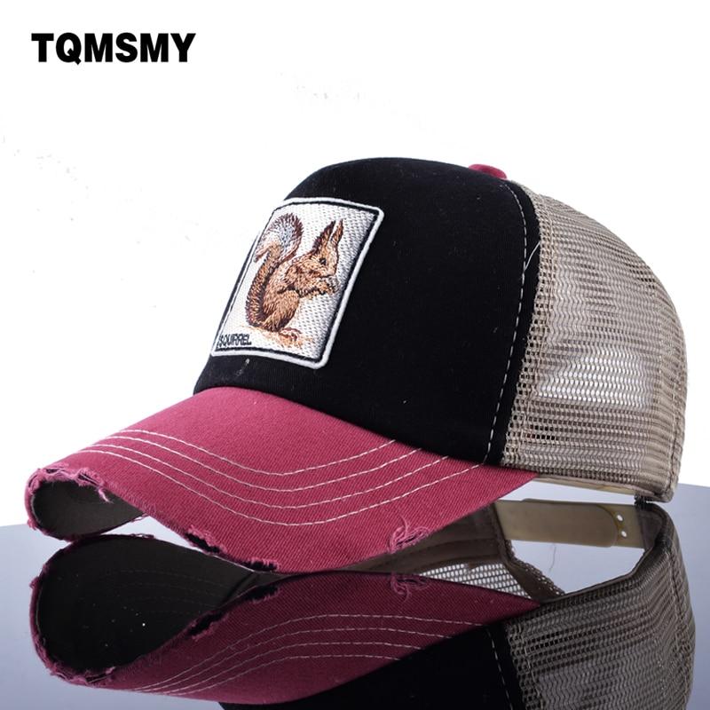 TQMSMY Sun hats for women's Snapback   caps   Mesh   Baseball     Cap   men summer Hat Embroidery squirrel Trucker   Cap   Unisex Hip Hop bone