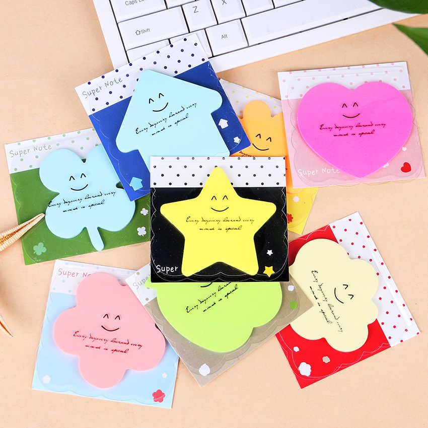 น่ารักหัวใจ Memo Pad กระดาษโน้ตสี Candy Smile โน้ตบุ๊คเครื่องเขียน Papelaria Escolar โรงเรียนซัพพลาย