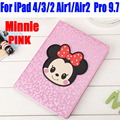 Smart Case For iPad Air1 Air2 For iPad Pro 9.7 Fashion Mickey & Minnie PU Leather Cover for iPad 4/3/2 I615