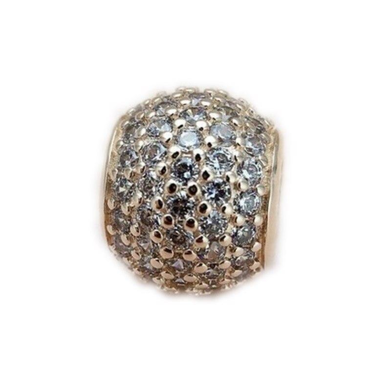 Подходит Пандора браслеты и цепочки ожерелья Твердые Bling Pave Ball талисманы 14 К золото с прозрачными Cz DIY Изготовление ювел