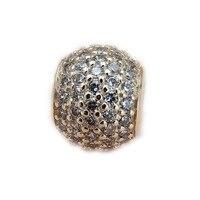 Подходит Pandora Браслеты и Цепочки и ожерелья одноцветное Bling проложить мяч Талисманы с четкими CZ Талисманы DIY изготовления ювелирных изделий