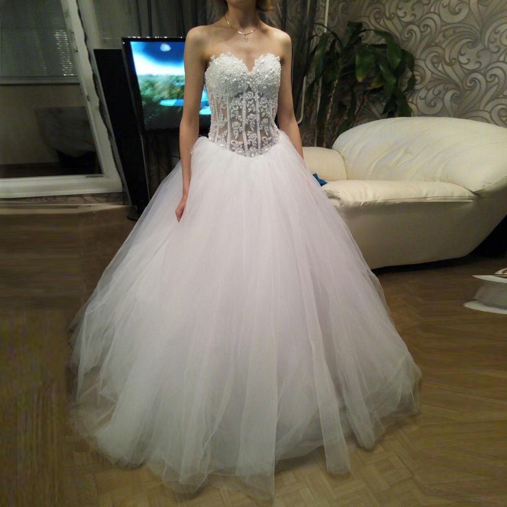 MANSA Luxury Pearl Beaded Lace Wedding Dresses 2015 White Sweetheart  Princess Wedding Dress Casamento Plus Size Vestido De Noiva-in Wedding  Dresses from ... 775fbbc33942
