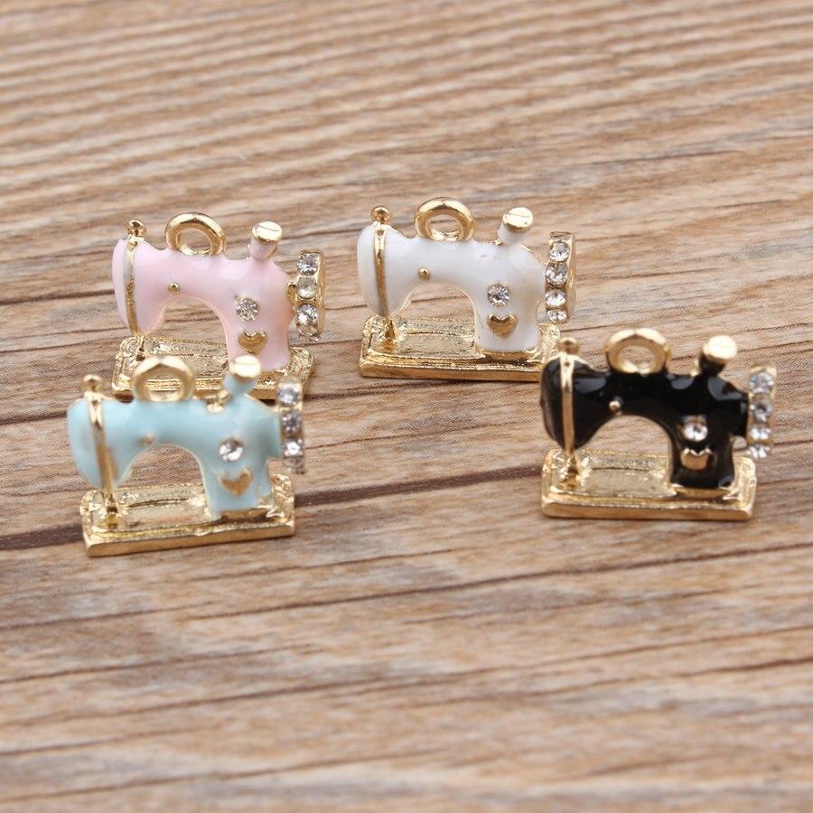 20pcs Charm Sewing Machine Enamel Pendants 14*16mm Handmade Children Day Jewelry Making Earrings Bracelet Necklace Keychain DIY