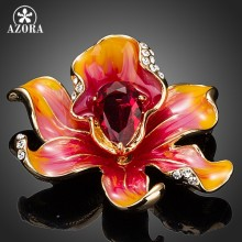 AZORA di Colore Dell'oro Del Fiore Appariscente Con UN Grande Blood Red Cubic Zirconia Spille Spilla TP0019(China)