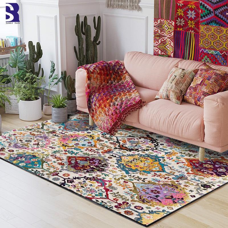 SunnyRain 1 piece Bohemia Carpet for Living Room Area Rug Short Plush Bed Room Carpet Large