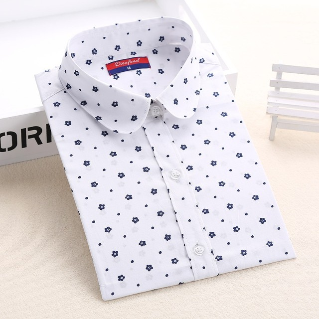 Dioufond новая рубашка Женская хлопковая с длинным рукавом дамы блузки принтом отложной воротник Топ Женская дышащая плюс Размеры дамы Топы