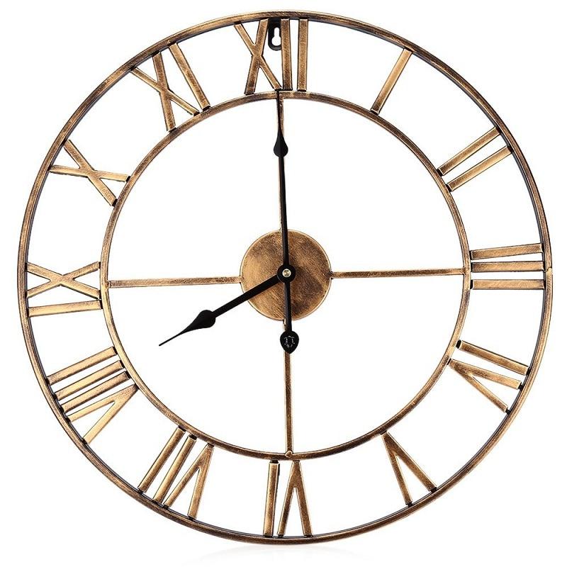 Modern 3D Clock Wall Clock mechanism design Decorative Retro Iron Big Art Gear Roman Numerals Wall Clocks Design