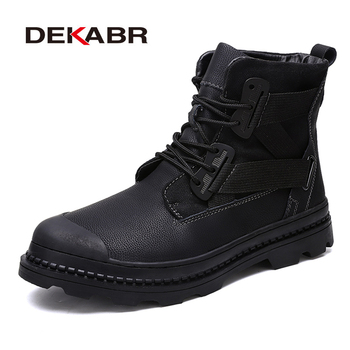 DEKABR Men's Genuine Leather Boots Men Casual Design Ankle Boots Top Quality Work Boots Classic Black Footwear Big Size 38~47