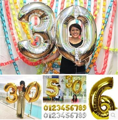 1pcs/lot 30inch inch foil mylar gold silver number birthday balloons decoration