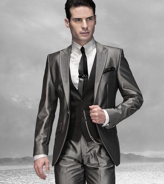 2016 New arrival Grey Tuxedo Styles mens wedding suits groom ...