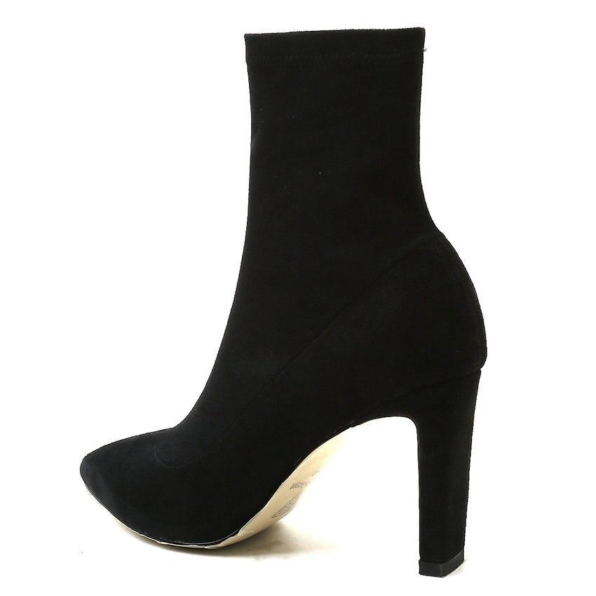 QUTAA 2019 Frauen Socke Stiefel Mode Frauen Stiefel Plattform Slip auf Quadratischen Hohe Ferse Mitte Wade Frauen Motorrad Stiefel Große größe 34 39-in Knöchel-Boots aus Schuhe bei  Gruppe 3