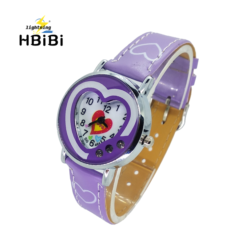 Low Price Promotion ! Fashion Women Watch For Kids Girls Clock Love Heart Leather Children Waterproof Child Quartz Watches Gift