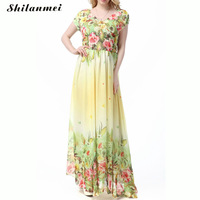 Yellow Dress Women Chiffon Plus Size Loose Big Long Maxi Dress Floral Printed Backless Halter Short