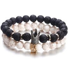 Новые модные женские и мужские браслеты с бусинами простые классические круглые браслеты с бусинами и браслеты для мужчин аксессуары ручной работы подарок