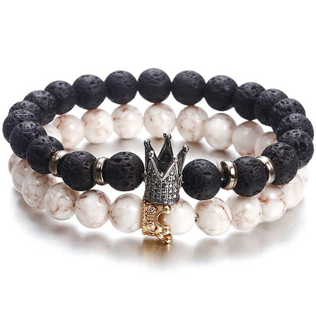 Nueva de moda con cuentas de los hombres de las mujeres pulseras Simple clásico redondo grano encanto pulseras y brazaletes para hombres hechos a mano accesorios regalo