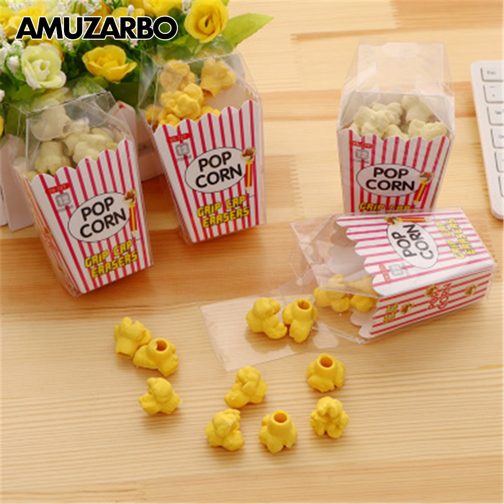 1 Pack Kawaii Food Popcorn Eraser Children Stationery School Supplies Rubber Pencil Erasers Correction Kids Girl Toy Gift