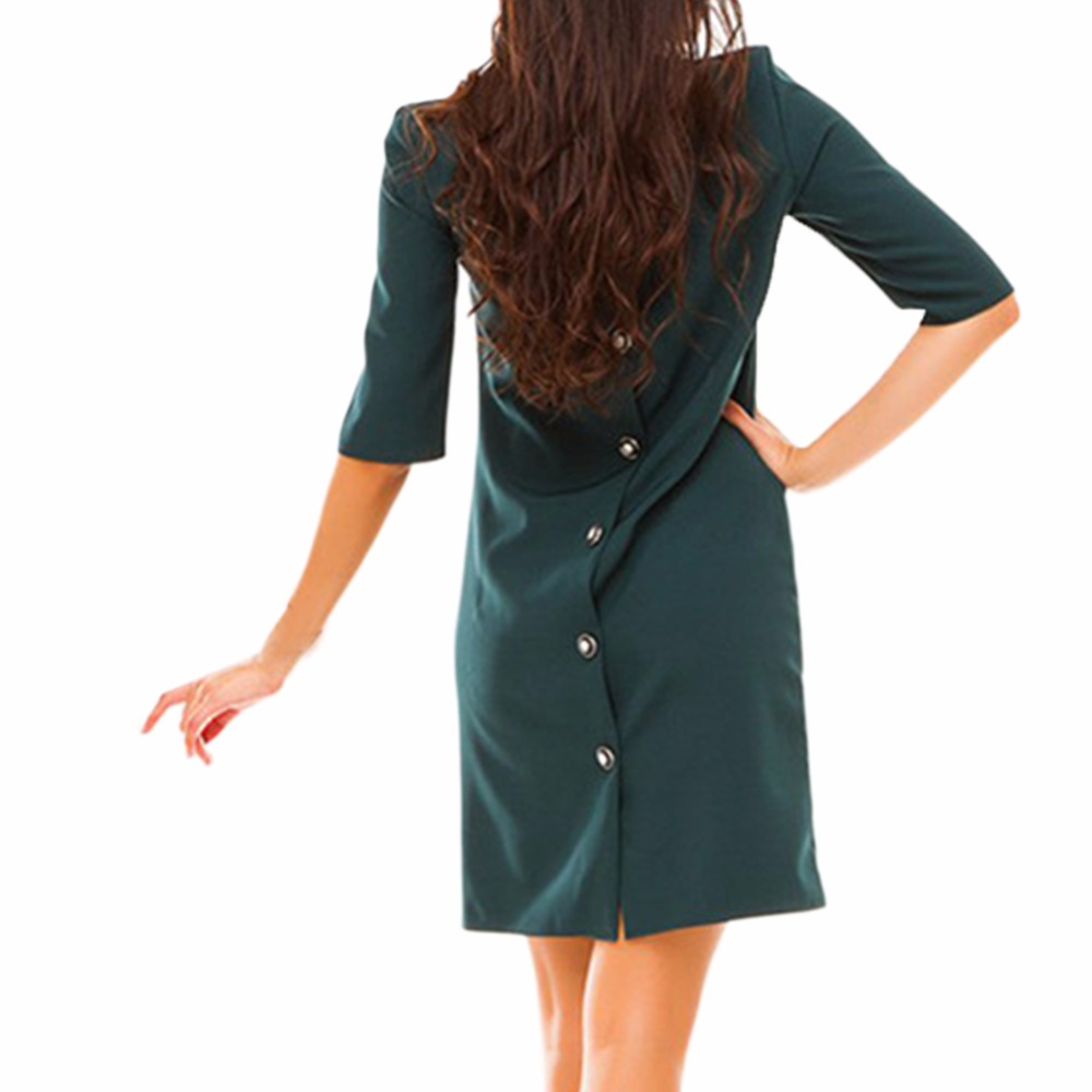 Autumn New Womens Knee Dress Casual O-neck Half Sleeved Cack Row of Buttons Dress Bodycon Vestidos Party Dresses
