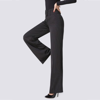 Striped Heavy Latin Dance Trousers Adult Woman's Black Ballroom Pants High Waist Broad Leg Flared Modern Practice Costume H656