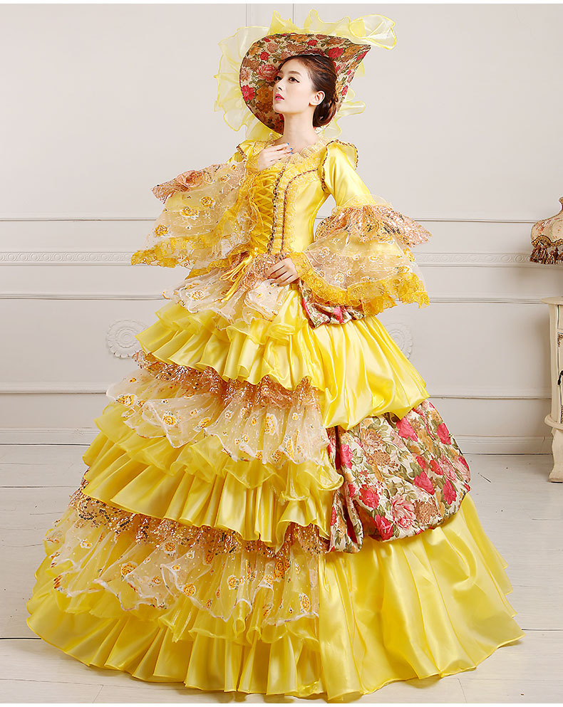 luxury lace pink/yellow/blue/green flowers ruffled medieval dress with hat renaissance Gown princess cosplay Victorian ball gown