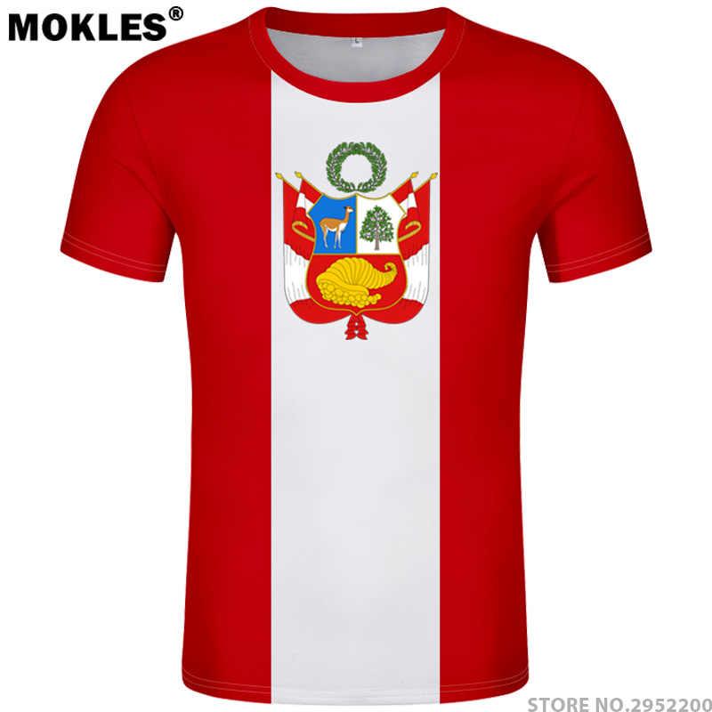 7c9e414bce8 PERU t shirt diy free custom name number per t-shirt nation flag pe republic
