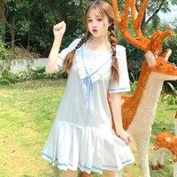 Sweet Cute Sailor Style V Neck Ruffles Girls Dress Chic Fare Two Piece Pleated Student Dress Japan Fresh Feeling Lovely Dress