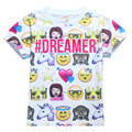 Зика Лето Короткий Рукав Рубашки для Мальчиков 4-12 Лет Белый Повседневная Emoji Pattern Топы для Детей Милые Девушки футболки Детская Одежда